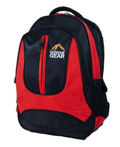 Outdoor Gear 6614 - Zaino per laptop, nero (rosso), 40 cm ca.