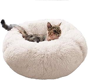 Wakerda Chenils à Chien Chien Chat Lit Panier Rond pour Chien Lit pour Chat Lit pour Chien Doux Confortable Sleep Pet Matelas Lavable aux Chats et aux Petits Chiens Jaune 80cm