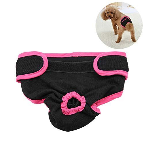 Pssopp Hundewindeln für Hündinnen, Waschbar Schutzhose Hundewindeln Robuste und Wiederverwendbare Hund Hygieneunterhose aus Baumwolle mit Magictape für Weibliche Haustiere Hunde Welpen(schwarz XS)