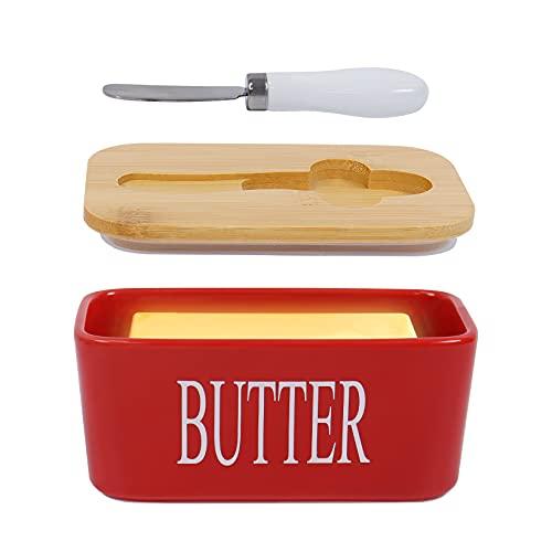 Goklmn Mantequillera de porcelana con tapa, hermética de silicona para mantequilla, nueces, queso, rojo + cuchillo de mantequilla