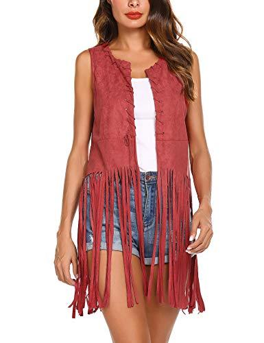 MAXMODA dames West Fransen mouwloos dun franjesvest Bolero Blazer gebreid vest blouse korte mouwen blouse top outdoor cardigan leer hippie gilet