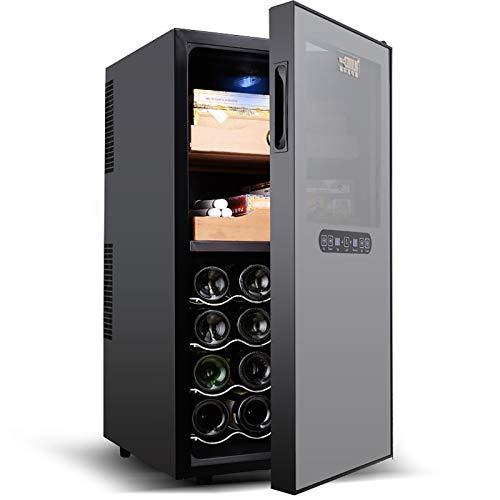 CLING Toque el gabinete de cigarros de Acero Inoxidable para el hogar gabinete de Vino humectante gabinete de Doble Uso para cigarros Ahorro de energía 2 estantes para cigarros / 4 botelleros