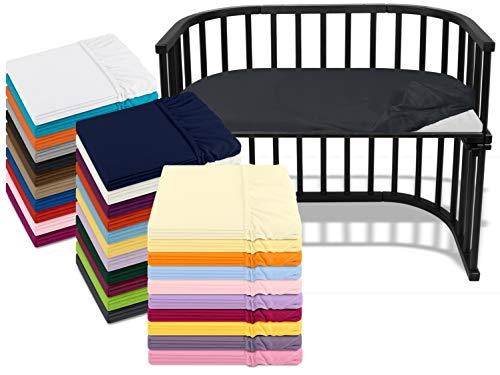 npluseins Kinder Jersey Spannbetttuch für Beistellbett und Wiege 170.181, ca. 40 x 80 cm, anthrazit
