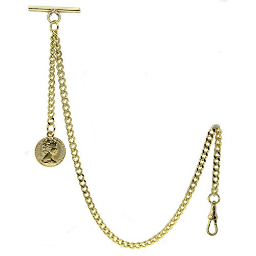 WATCHVSHOP Albert Chain Gold Tone Pocket Watch Chain Vest Chain for Men Fob...