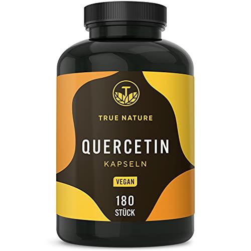 Quercetin - 180 Kapseln (500mg) - Vegan - Deutsche Produktion - Premium Rohstoff: Japanischer Schnurbaum-Blütenextrakt - Laborgeprüft, Hochdosiert & Ohne Zusätze - TRUE NATURE®