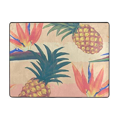 Alfombra Tropical exótica de flores y piñas antiesquís, alfombra para yoga, alfombra gruesa para sofá, dormitorio, salón, baño, alfombra antiestática lavable a máquina