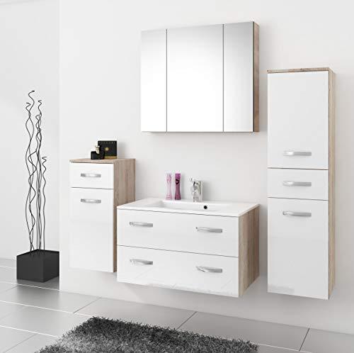 Küchen-Preisbombe Badmöbel Badezimmer Regina 5tlg Set in Weiss Hochglanz + Sonoma 80 cm Waschtisch