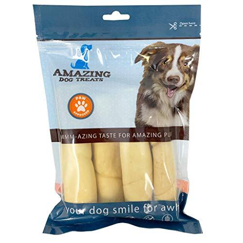 6 Inch Beef Cheek Rolls (4 Pcs/Pk) - No Hide - Safe Non Rawhide Alternative Dog Chew - No Rawhide Bone Roll Dog Treats