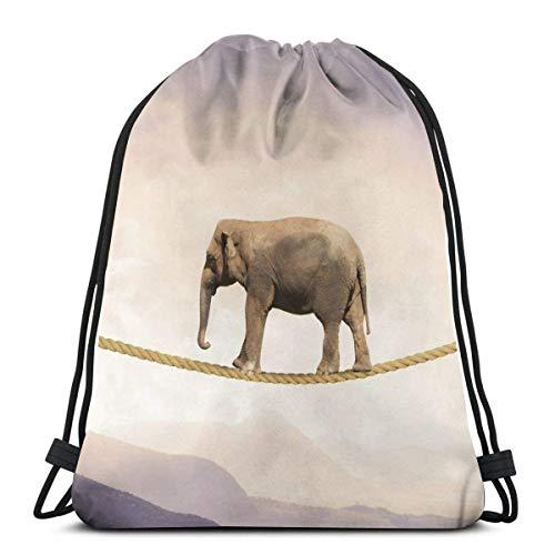 Sanme Concepto de dificultad en los Negocios con Elefante en una Cuerda Mochila con cordón Mochila Bolsa de Deporte Mochila Deportiva de Playa