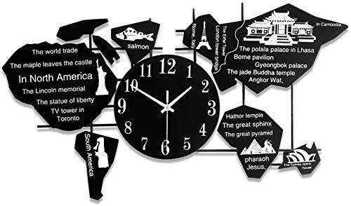 SETSCZY Reloj de Pared Creativo Reloj de Moda con Personalidad Reloj de Mapa Mundial para la Cocina Oficina en casa Sala de Estar y Dormitorio, 35 * 69 CM