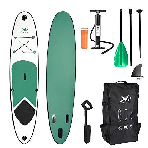 XQ Max - Tabla de surf de remo, 305 cm, juego completo con bomba, herramienta de reparación, correa para el pie, remo ajustable, color verde