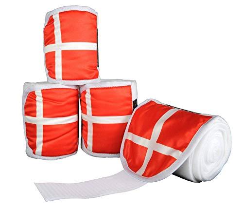 HKM polarfleece bandages vlags, set van 4, 300 cm, Vlag Denemarken - 7909