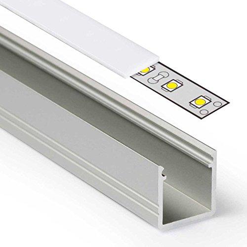 2m LED Aluprofil SMART (SM) Aluminium Profil-Leiste eloxiert für LED Streifen - Set inkl Abdeckung-Schiene milchig-trüb weiß mit Montage-Klammern und Endkappen (2 Meter milchig opal weiß slide)