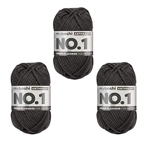 myboshi No.1 Wolle, 70% Polyacryl, 30% Merinowolle, Anthrazit, 3X 50g, 55m, 3 Knäuel, Garn zum Häkeln und Stricken, Formstabil, Pflegeleicht, Mulesingfrei