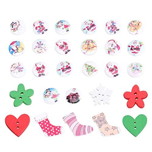Toyvian Holzknöpfe Runde Blumen Herz Schneeflocken Form Weihnachten Knopf mit 2 Löcher zum DIY Handwerk Basteln Weihnachtsdeko 40g