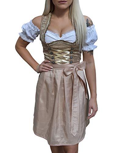 Golden Trachten Dirndl 3 TLG, Damen Midi Trachtenkleid für Oktoberfest, Damen Kleid, 529GT Beige geblümt (36)