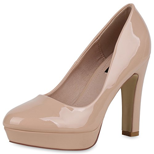 SCARPE VITA Damen Plateau Pumps Lack High Heels Stiletto Party Abendschuhe 162779 Nude Lack 40
