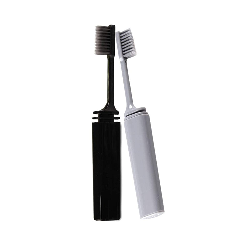 家事をする身元着るSUPVOX 2本旅行歯ブラシポータブル折りたたみ竹炭柔らかい剛毛歯ブラシ(グレーブラック)