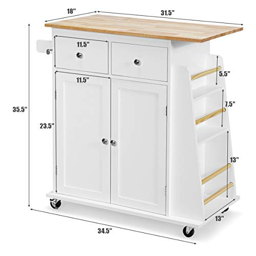 Giantex Kitchen Island Cart, Rolling Wood Trolley with Storage Cabinet, Towel Handle, 2 Drawers, Side Spice Rack and Wine Bottle Rack, Kitchen Cart on Wheels, Rubber Wood Countertop (White)