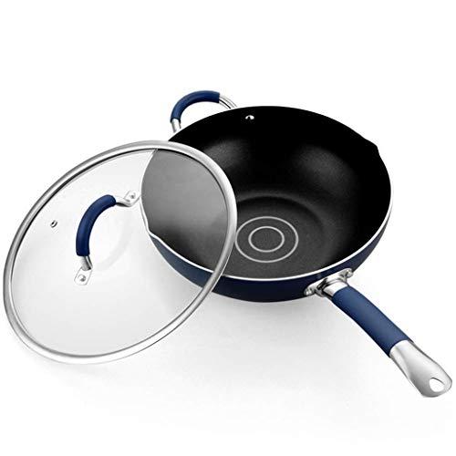 YUTRD ZCJUX Wok - Acciaio Inossidabile Wok, Antiaderente Stir Fry Pan e Spatola, induzione Compatibile, AntiGraffio