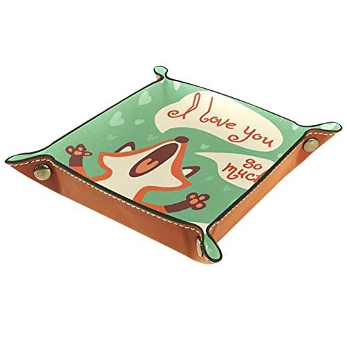 Bandeja de Valet de Cuero, Soporte Cuadrado Plegable para Bandeja de Dados, Placa organizadora de tocador para Cambiar la Llave de la Moneda I Love You Much Vintage Cartoon Fox Green Print