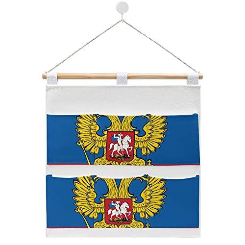 Bolsa de almacenamiento de lino y algodón para colgar en la pared, con la bandera del presidente ruso de Rusia, bolsas de almacenamiento para dormitorios y cuartos de baño, 7 bolsillos