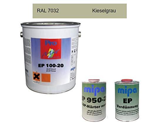 SET Mipa 2K EP 100-20 Grundierung Epoxi Epoxidharz Color + Härter + Verdünnung 8 kg (Kieselgrau)