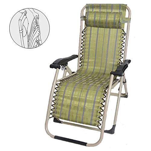 Tragbare Gartenliege Stühle Klappbar, Liegestuhl im Freien mit abnehmbarem Kissen Liegende Sonnenliege Schwerelosigkeit Verstellbarer Rücken Strandstuhl Klappbar Für Schlafzimmer Wohnzimmer