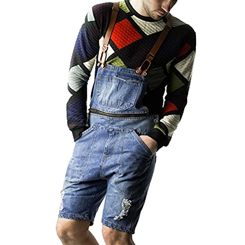 Men's Casual Bib Overalls Denim Shorts Loose Fit Ripped Dungaree...