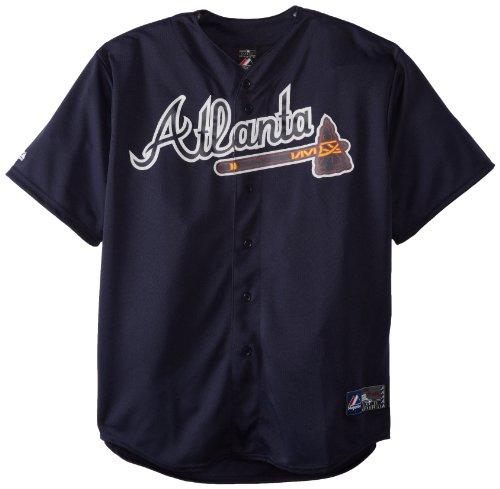 Majestic MLB Atlanta Braves Trikot Replica Navy, Herren, Navy, Large