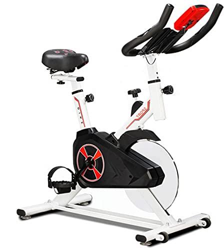 WUQIAO Cyclette Indoor Workout Cardio Upright Cycling, 3 metodi di Guida, Display elettronico a LED, Colonna monoblocco in Acciaio Inossidabile, carico in sovrappeso di 330 libbre,Bianca