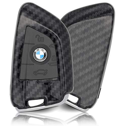 ASARAH Premium ABS Autoschlüssel Hülle kompatibel mit BMW - Edles Carbon Design mit Silikonschutz für Tasten - Carbon BW 3BKL-c