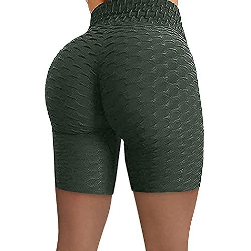 YHomU Yoga Shorts High Waist Soft Butt Lifting Workout Shorts Laufshorts für Damenmode Waschbar Wiederverwendbares ergonomisches dunkelgrünes Polyester