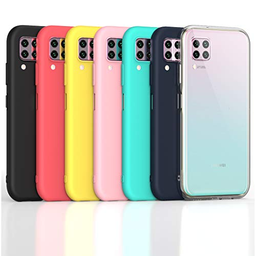 Oududianzi - 7X Cover for Huawei P40 Lite, [Rainbow Series] Soft Matte TPU Silicone Case [Transparent + Black + Pink + Dark Blue + Red + Mint Green + Yellow]