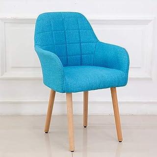 Chairlxy Madera Sillas de Comedor, sillas tapizadas algodón Brazo sillones sillas de Ocio con Patas de Madera para la Cocina, Comedor, Dormitorio, Sala de Estar,Azul