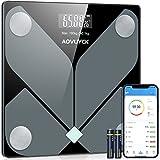 AOVUYCK Bilancia Pesapersone Bluetooth, Bilancia Impedenziometrica con 12 Indici di Corporea, BMI, Massa Grassa, Massa Ossea, Proteine, Bilancia Smart con App & Unità KG/LB/ST, 30×30 cm, Fino a 180 KG
