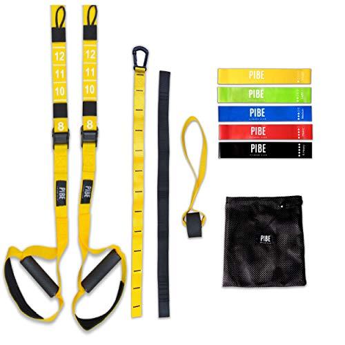 PIBE Entrenamiento Suspensión, Trainer Suspension Fitness Pro con Accesorios para Entrenar en Casa con 5 Bandas Elásticas de Diferente Intensidad Incluidas. Resistencia de Carga hasta 400 Kg