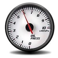 PINGYAYANG 60mmタコメーター昇圧真空水温油温油圧電圧空燃比EGTゲージブラックケースGPSスピードメーター (Color : Oil pressure gauge)