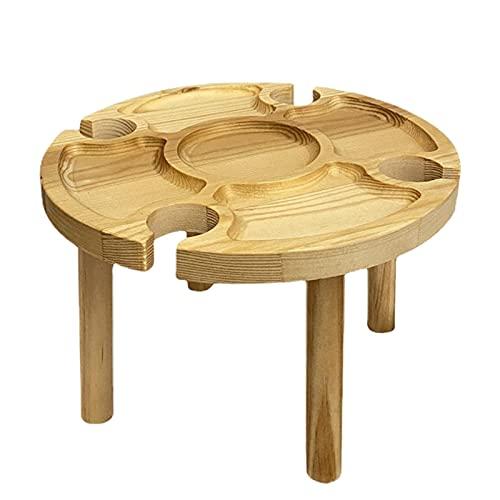 ALEOHALTER Mesas de picnic de madera 2 en 1, mesa de picnic plegable de madera de playa con soporte para copas de vino, mesas de picnic plegables de madera para picnic al aire libre, camping (tipo 4)