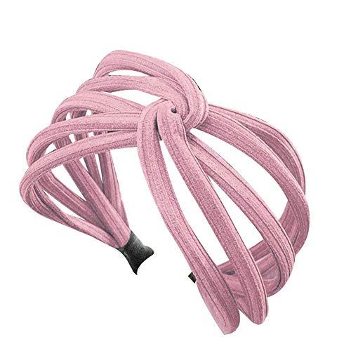 Starmood Mujer Giro Diadema Lazo Nudo Cruzado Corbata Paño Pañuelo Cabeza Diadema Aro - Rosa