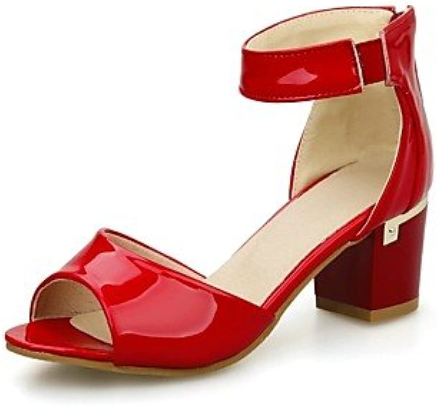 MEIREN Women's shoes Patent Leather Chunky Heel Peep Toe Ankle Strap Sandals Dress Black bluee Red
