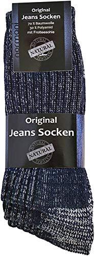 normani 6 Paar Original Jeanssocken mit hohem Baumwollanteil und Frotteesohle Farbe Blau Größe...