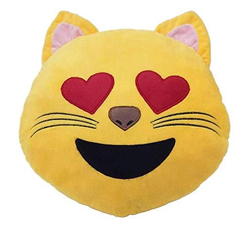 Desire Deluxe Cojín Emoticono Cara Gato con Ojo de Corazon Sonriente - Almohada o Peluche Emoji Cariñoso en Forma de Emoticon Cara Gato con Ojo de Corazon 100% de Satisfacción o Devolución del Dinero.