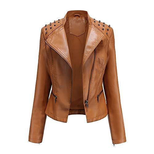 U/A Primavera e Autunno Donne Giacche Di Pelle Donna Giacche Slim Sottile Cappotti Ladies Moto Abiti Marrone XL