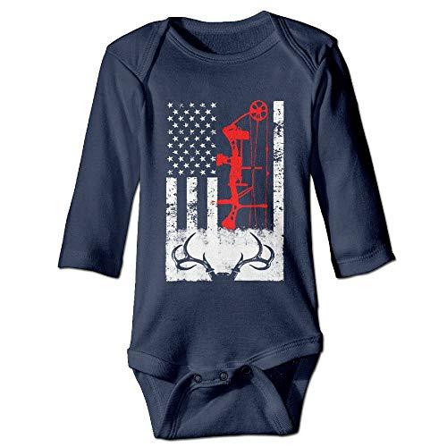 SDGSS Ropa para bebés Bodysuits Deer Hunting US Flag Unisex Boys Girls Sleepwear Baby Onesie Clothing