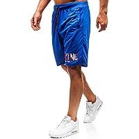 BOLF Hombre Pantalón Corto Pantalón de Chándal Impresión Pantalón de Algodón Estilo Diario J.Style NP05 Azul L [7G7]