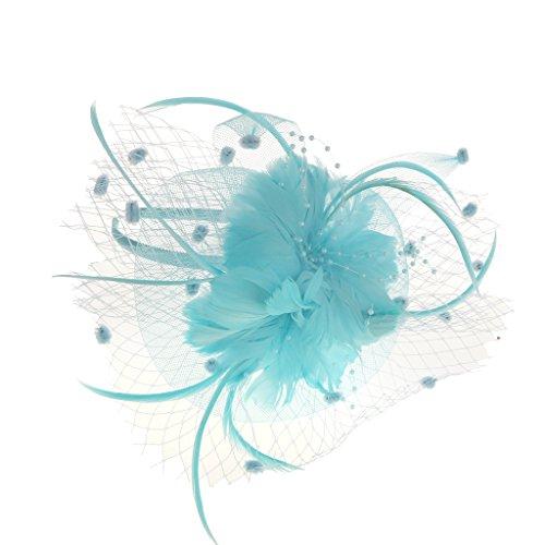 F Fityle Bande de Cheveux En Maille Plume Fleur Fascinator Ladies Day Burlesque Party Fancy Dress - bleu Lac, 7,09 x 5,51 x 3.15inch