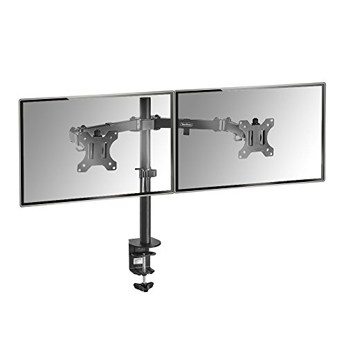 "VonHaus Dual Monitor Mount for 13-32"" Screens - Double Arm Desk Stand Bracket with Clamp - Ergonomic 180° Tilt, 360° Rotation & Twin 360° Swivel Arms - VESA Dimensions: 75x75-100x100"