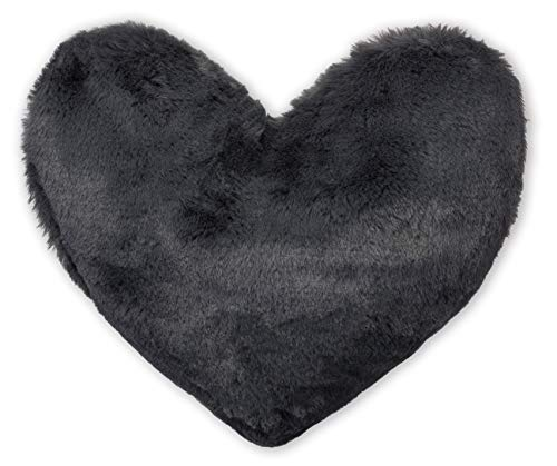 Brandsseller - Herzkissen kuscheliges plüsch Dekokissen Herzform ca. 40x30 cm Anthrazit