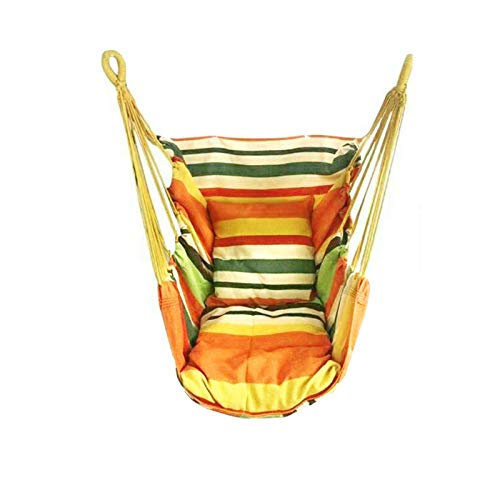PPLAS 150kg Garden Hang Chair Swinging Indoor Outdoor Furniture Hammock Hanging Rope Chair Swing Chair Seat portable camping seat (Color : 13 with 2 pillows)